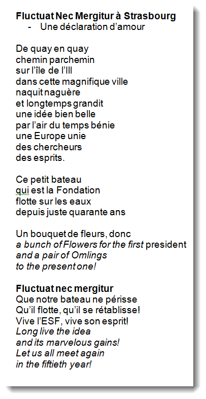 Poem European Science Fondation 40th Anniversary